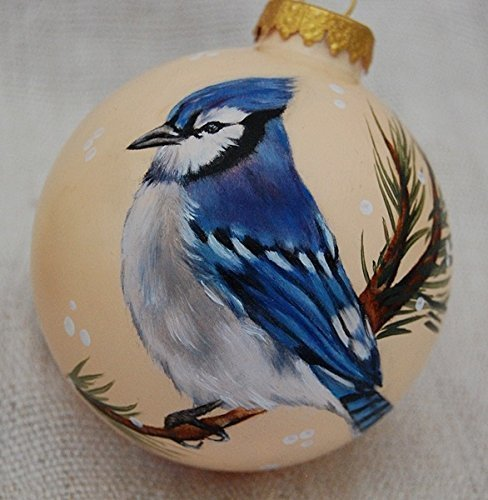 Christmas Ornaments Blue Jay Hand Painted Glass Ball Ornament