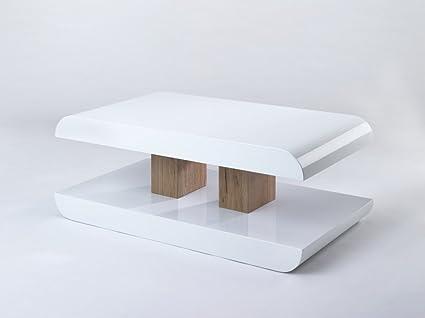 Couchtisch Hochglanz Weiß Sonoma Eiche Wohnzimmertisch 110x60x40 cm