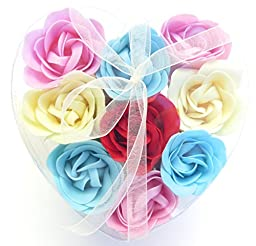 Rose Scent Bath Bomb, Nine Colorful Rose Flower with Heart Gift Box. Pink+yello+blue +Red4