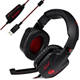 TeckNet® 7.1 Channel Surround Sound Headband Vibration Gaming Headset Over-Ear Headphone With Microphone For PC Computer Gaming, USB Connection