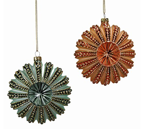Green Orange Sea Urchins Holiday Ornaments Set of