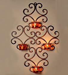 ExclusiveLane Wall Scone With 4 Tea Lights Holders with Metal Finish (Non Electrical) - For Gift / Home Décor