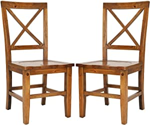 Safavieh American Home Collection Elland Maple Cross Back Side Chair, Set of 2