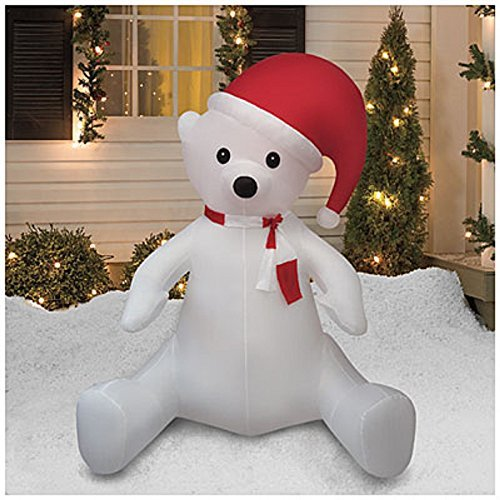 CHRISTMAS AIRBLOWN INFLATABLE 8 FT TALL SITTING POLAR BEAR W/ SANTA HAT OUTDOOR YARD DECORATION