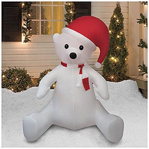 CHRISTMAS AIRBLOWN INFLATABLE 8 FT TALL SITTING POLAR BEAR W/ SANTA HAT OUTDOOR YARD DECORATION