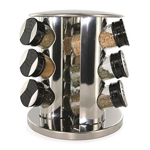 Saveur Et Degustation KB5757 Carrousel à Epices Tour Ronde avec 9 Pots/Couvercle Verre/Inox/Plastique Transparent/Noir 20,5 x 20,5 x 22,2 cm