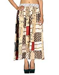 Eye-Catching Casual Skirt Cotton Cream Floral Patchwork Womens Skirts By Rajrang