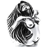 Men's Large Heavy Stainless Steel Ring Silver Black Angel Goddess Vintage Biker