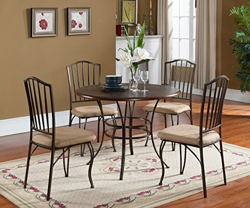 5 PC Set Kings Brand Round Wood Metal Dining Room Kitchen Table And 4