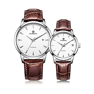 Starking Couple's AM/L184 Leather Automatic Wrist Watches