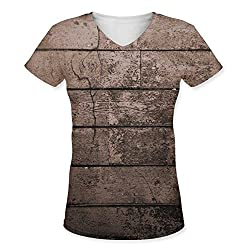 Snoogg Old Wood Textures Womens Casual V-Neck All Over Printed T Shirts Tees