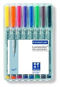 Staedtler 316 WP8 Lumocolor Universalstift F-Spitze, circa 0.6 mm, non-permanent, 8 Stück in aufstellbarer Staedtler Box