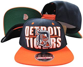 Detroit Tigers Block Two Tone Plastic Snapback Adjustable Plastic Snap Back Hat Cap by American Needle