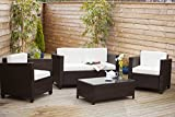 New ROMA Rattan Wicker Weave Garden Furniture porch Conservatory Sofa Set (Brown) features OUTDOOR FURNITURE COVER WORTH £49.99