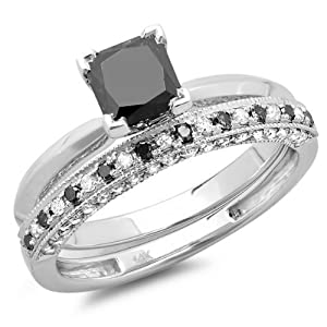 1.50 Carat (ctw) 14K White Gold Princess Cut Black & Round White Diamond Ladies Bridal Solitaire Engagement Ring With Matching Millgrain Wedding Band Set 1 1/2 CT (Size 5)