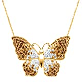 Crystaluxe Butterfly Pendant Necklace with Swarovski Crystals in 18K Gold-Plated Sterling Silver 18