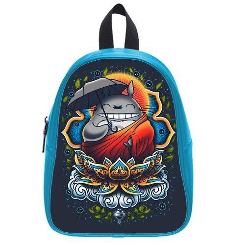 Generic Custom Grey Totoro Holding Umbrella Lotus Sun Printed Deep Sky Blue School Bag Backpack Fit Short Trip Pu Leather Medium front-979646