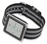 iPod Nano Watch Band – Black w/ grey stripes