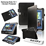 SAVFY Samsung Galaxy Note 10.1 (GT-N8000 / GT-N8010) Black Luxury Flip Stand Leather Case Cover Multi-Function Folio Pouch with Touch Stylus Loop Holder Design, includes FREE Bonus Gift: High Quality Screen Protector (Black)by SAVFY