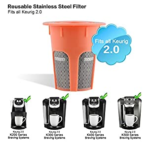 2 Pack Reusable Coffee Filter for K-cup, Kootek Stainless Steel Refillable Coffee Carafe Filter Accessories for K Cups Keurig 2.0 K200 K300 K400 K500 Series Brewers