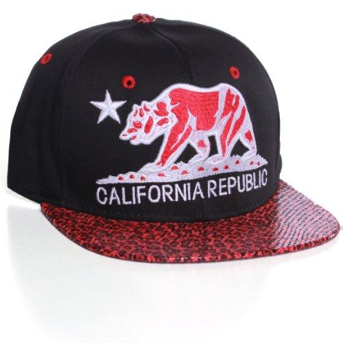 California Republic Flat Bill Bear Logo Animal Print Snapback Hat Cap - Black Red Snake