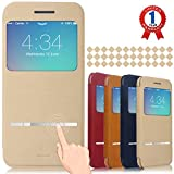 "iPhone 6 Case, Aerb Classic Series Smart Window View Touch Metal Front Flip Cover W Open Logo Back Folio Case for iPhone 6 4.7"" (i6 B-Khaki Case)"