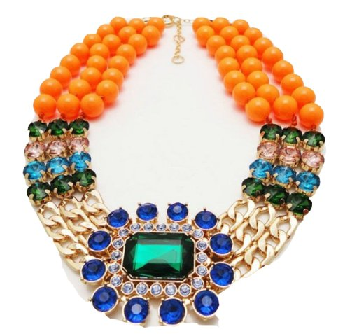WIIPU high quality 2013 design fashion yellow beads chain bib statement necklace crystal length 48cm(wiipu-C114)