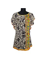 ADS Womens Digital Print Beige Black Kurti/Tunic - B00NPQEFB6