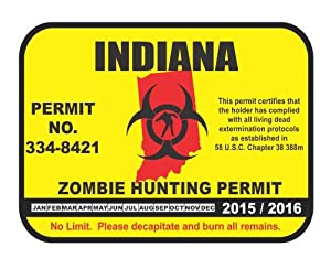 Indiana state zombie hunting permit license for Fishing license indiana