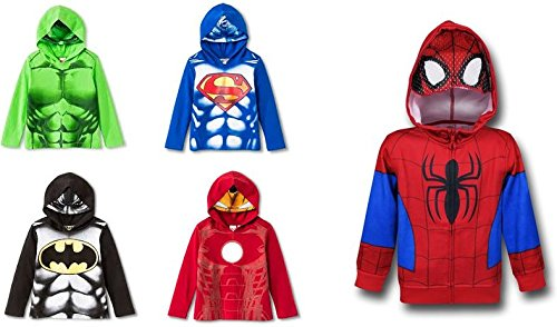 Toddler Boys' Hulk Spiderman Superman Ironman Batman Masked Long Sleeve T-Shirt Hoodie Bundle (2T) (Marvel Sweatshirt Kids compare prices)