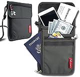 Neck Wallet w/RFID Blocking- Concealed Travel Pouch & Passport Holder (Neck Dark Gray)