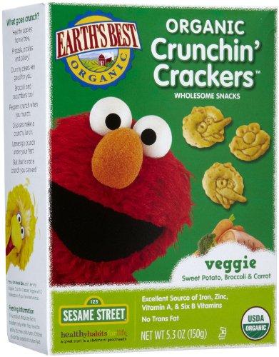Earths Best Sesame Street Crunchin Crackers - Veggie - 5.3 oz