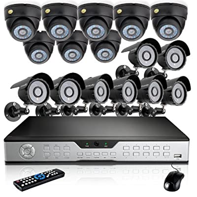 Zmodo 16CH DVR CCTV Kits security cameras system w/ 8 Outdoor Bullet+ 8 Indoor Dome 600TVL Hi-Resolution Video Surveillance Cameras 1TB HDD