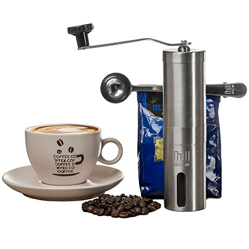Mill Eco - Manual Coffee Grinder - Best Burr bean Grinder - Stainless Steel Adjustable, Portable, Hand grinder - Comes with Cleaning Brush, Pouch, Spoon - Enjoy your coffee