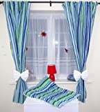 AMAZING NURSERY BABY CURTAINS WITH TIE BACKS 9 Navy strips white