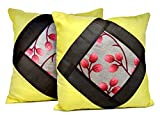 2pcs Yellow Silk Pillow Covers Indian Modern Luxury Sofa Cushion Covers