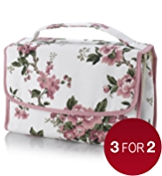 Floral Collection Vintage Inspired Hanging Cosmetic Bag