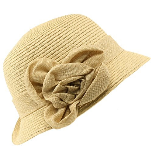 Summer Pretty Ruffle Flower Side Flip Bucket Cloche Sun Beach Hat Natural 56cm