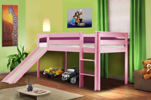 Children's Loft Bed With Slide Solid Pine Wood Pink - SHB/1362