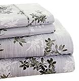 Trade Linker Park Avenue 4-Piece 350 Thread Count Cotton Rich Printed Sheet Set, Queen, Floral, Plum