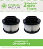 2 Dirt Devil F9 WASHABLE, REUSABLE Vacuum HEPA Filters; Compare With Dirt Devil Part #3DJ0360000, 2DJ0360000; Designed and Engineered by Crucial Vacuum