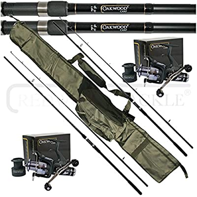 OAKWOOD 12ft 2.5tc Rods x 2 & Double Handle Bait Runner Reel x 2 & Carp holdall, Fishing Set from redwoodtackle