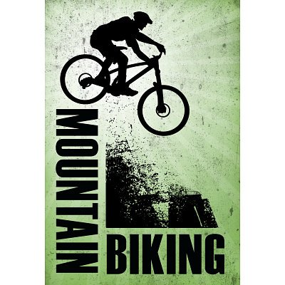 Professionally Framed Mountain Biking Green Sports Poster - 11x17 with RichAndFramous Black Wood Frame