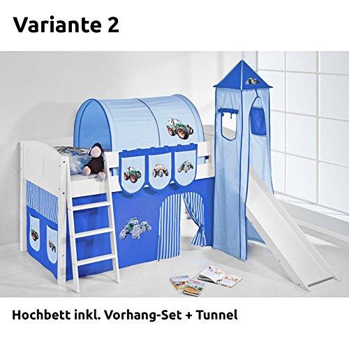Hochbett Spielbett IDA Trecker Blau, mit Turm, Rutsche und Vorhang, weiß, Variante 2