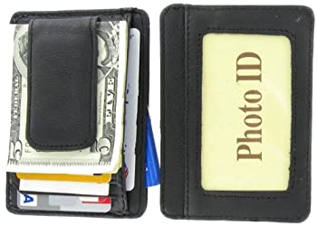 11. Printed grain cow hide leather money clip with magnet