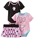 Disney Baby-Girls Newborn 2 Bodysuits and Skirt Set, Black/Pink, 0-3 Months