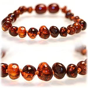The Art of CureTM *SAFETY KNOTTED*(HONEY) Bracelet -(Unisex) - Certified Baltic Amber Baby Teething Bracelet Highest Quality Guaranteed- Anti Flammatory, Drooling & Teething Pain. Easy to Fastens with a Twist-in Screw Clasp Mothers Approved Remedies!