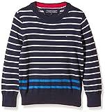 Tommy Hilfiger OLIVIER STRIPE CN SWEATER L/S - Suéter para niños, color azul (Black Iris 002), talla 14 años