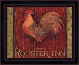 Rooster Inn by Susan Winget Framed Art Print Wall Picture, Black Red Frame with Hanging Cleat, 16 x 13 inches