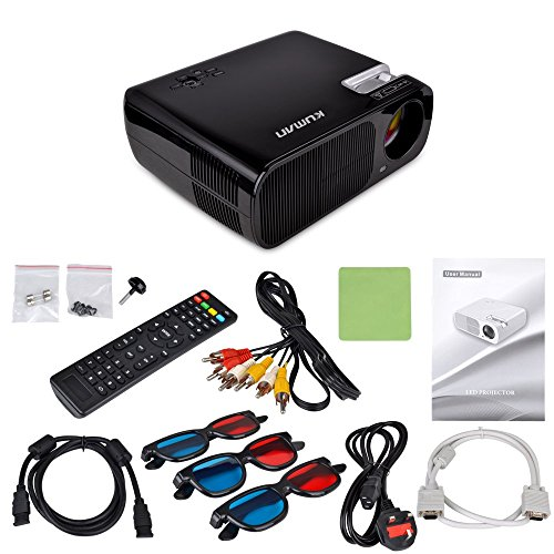 Proiettore LED Full HD,Kuman H2 Nero Videoproiettore Multimediale 800x600 2600 Lumens Home Cinema Theatre PC Laptop Telefono Supporto HDMI UAB AV VGA TV YPbPr 2 cavo 2USB